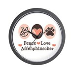 Peace Love Affenpinscher Wall Clock