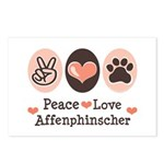 Peace Love Affenpinscher Postcards (Package of 8)