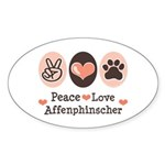 Peace Love Affenpinscher Oval Sticker
