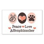 Peace Love Affenpinscher Rectangle Sticker