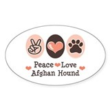Peace Love Afghan Hound Oval Decal
