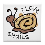 I Love Snails Tile Coaster