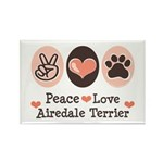 Peace Love Airdale Terrier Rectangle Magnet (100 p