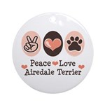 Peace Love Airdale Terrier Ornament (Round)