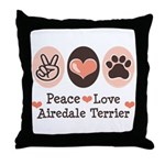 Peace Love Airdale Terrier Throw Pillow
