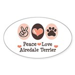 Peace Love Airdale Terrier Oval Sticker