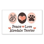Peace Love Airdale Terrier Rectangle Sticker