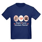 Peace Love Airdale Terrier Kids Dark T-Shirt