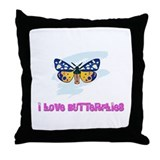 I Love Butterflies Throw Pillow