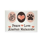 Peace Love Alaskan Malamute Rectangle Magnet (100