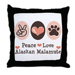Peace Love Alaskan Malamute Throw Pillow