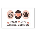Peace Love Alaskan Malamute Rectangle Sticker