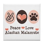 Peace Love Alaskan Malamute Tile Coaster