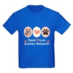 Peace Love Alaskan Malamute Kids Dark T-Shirt