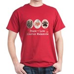 Peace Love Alaskan Malamute Dark T-Shirt