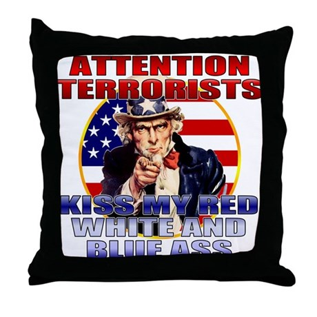 Anti Terrorist Uncle Sam Throw Pillow