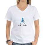 Retro Knit Girl Women's V-Neck T-Shirt