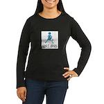 Retro Knit Girl Women's Long Sleeve Dark T-Shirt