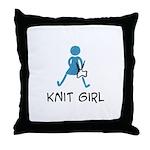 Retro Knit Girl Throw Pillow