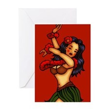Hula Dancing Girl Tattoo Greeting Card