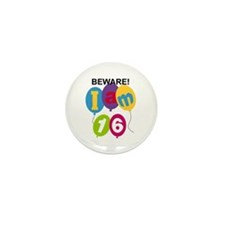 Beware 16th Birthday Mini Button (10 pack)