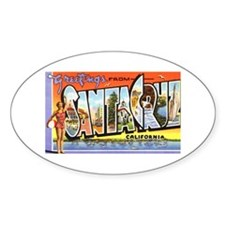Santa Cruz California Greetings Oval Decal