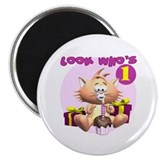 "First Birthday Kitten 2.25"" Magnet (10 pack)"