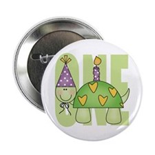 Baby First Birthday Turtle Button