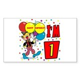 Clown 1st Birthday Rectangle Decal