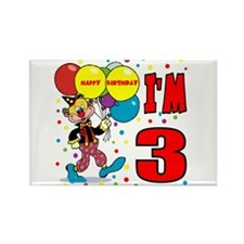 Clown 3rd Birthday Rectangle Magnet
