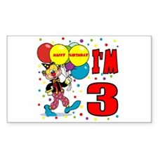 Clown 3rd Birthday Rectangle Decal