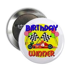 Racecar 4th Birthday Button