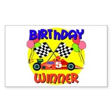Racecar 5th Birthday Rectangle Decal