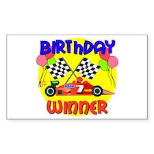 Racecar 7th Birthday Rectangle Decal