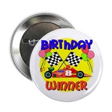 Racecar 8th Birthday Button