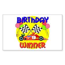 Racecar 9th Birthday Rectangle Decal