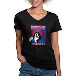 SPRINGER SPANIEL Women's V-Neck Dark T-Shirt