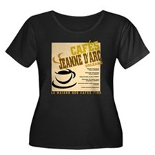 French Cafe Women's Plus Size Scoop Neck Dark T-Sh