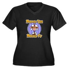 Monkey Fu Women's Plus Size V-Neck Dark T-Shirt