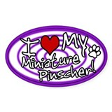 Hypno I Love My Miniature Pinscher Sticker Purp