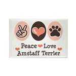 Peace Love Amstaff Terrier Rectangle Magnet (10 pa