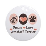Peace Love Amstaff Terrier Ornament (Round)