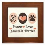 Peace Love Amstaff Terrier Framed Tile