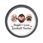 Peace Love Amstaff Terrier Wall Clock