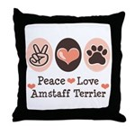 Peace Love Amstaff Terrier Throw Pillow