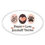 Peace Love Amstaff Terrier Oval Sticker