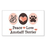 Peace Love Amstaff Terrier Rectangle Sticker