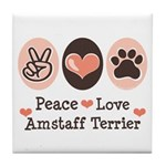 Peace Love Amstaff Terrier Tile Coaster
