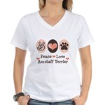 Peace Love Amstaff Terrier Women's V-Neck T-Shirt