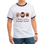 Peace Love Amstaff Terrier Ringer T